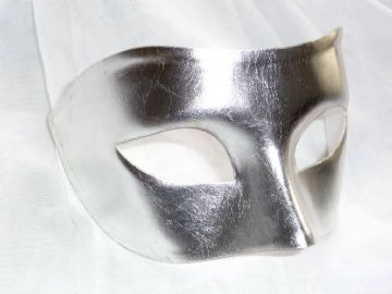 Mens Genuine Silver Leaf Venetian half Mask a